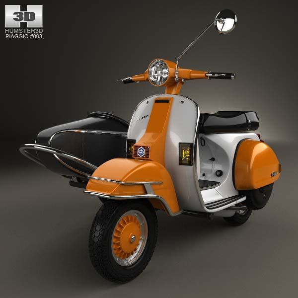 Piaggio Vespa PX 200 Sidecar 1998 3d model from humster3d.com. Price: $75