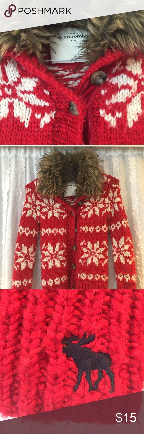 Abercrombie girls large cardigan sweater Abercrombie girls medium cardigan button down sweater. Cute sweater with a fur collar in good condition. abercrombie kids Shirts & Tops Sweaters
