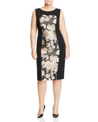 Marina Rinaldi Dorico Metallic Floral Sheath Dress | Bloomingdale's