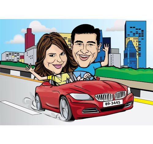 The happy couple in love!: Happy Couple, Caricatures Style