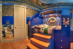 Modern Kids Bedroom with National league game 1886, South Shore Treehouse Twin Loft Bed, Hardwood floors, Raised bed, Mural