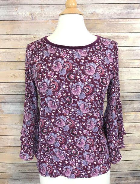 4f23e6126 LOFT Ann Taylor Blouse Womens Purple Floral Top Size XS Flare Ruffle Bell  Sleeve #LOFT #Blouse
