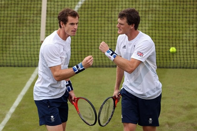 JULY 28: Andy Murray and Jamie Murray of Great Britain play against Alexander Peya and Jurgen Melzer of Austria during their Men's Doubles Tennis match on Day 1 of the London 2012 Olympic Games at the All England Lawn Tennis and Croquet Club in Wimbledon on July 28, 2012 in London, England. (Photo by Clive Brunskill/Getty Images)