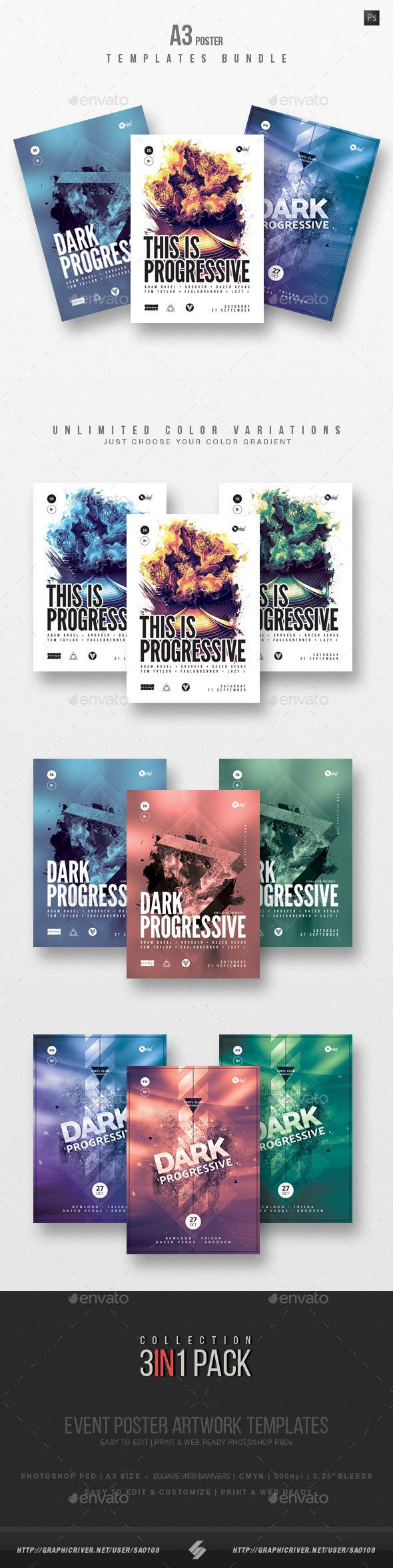 progressive sound vol 16 club party flyer poster templates