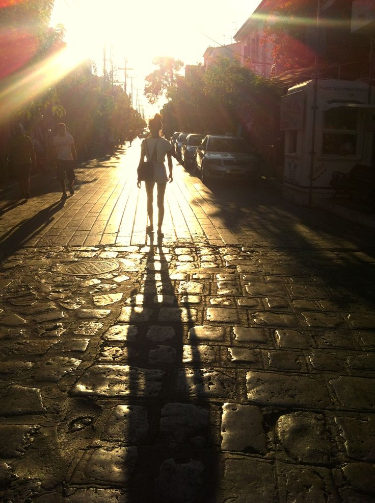 Downtown sunset walks. Greece, Samos