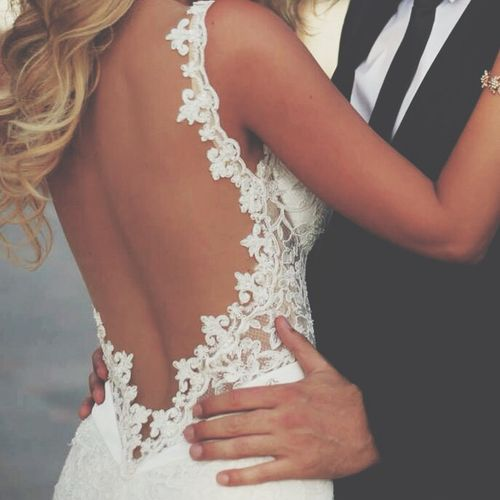 sexy + glamour wedding dress back