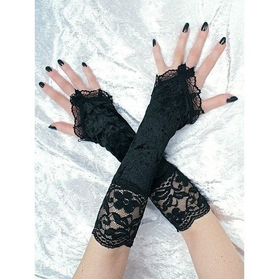 long fingerless gloves arm warmers in gothic by FashionForWomen. https://www.etsy.com/listing/209683531/long-fingerless-gloves-arm-warmers-in?ref=shop_home_active_12