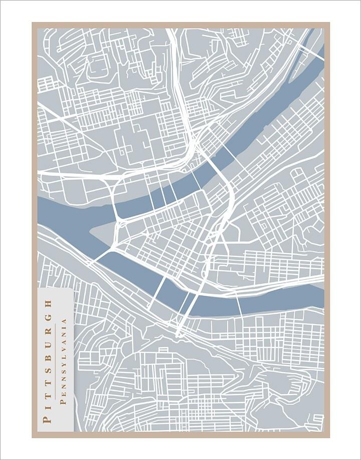 11x14 - Pittsburgh Street Map - print.
