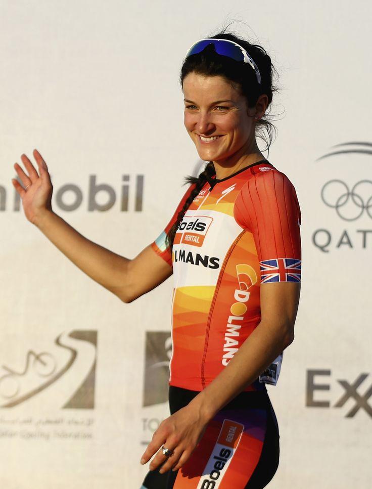 #ElizabethArmitstead of #GreatBritain & #BoelsDolmansCycling celebrates after winning #stage3 of the 2015 #LadiesTourofQatar