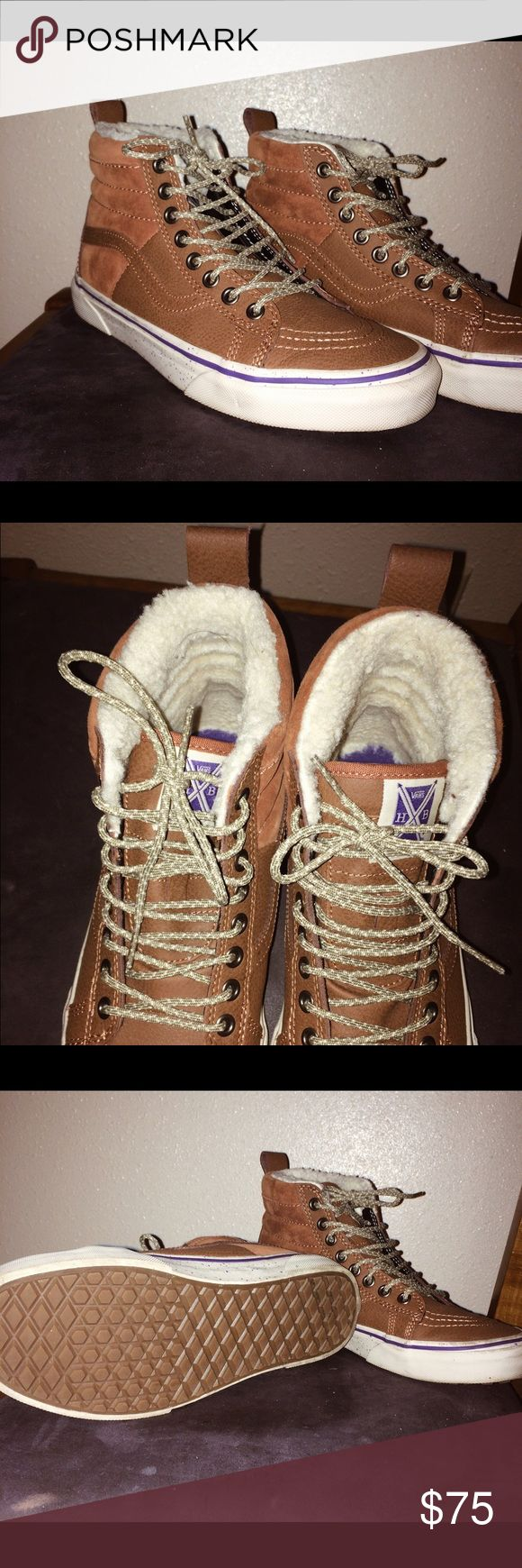 Brand new Vans- Hana Beaman sk8-hi 46 MTE Hana Beaman sk8-hi 46 MTE's only worn once. Brown suede and leather, purple detailing, scotchgard protected. Vans Shoes Sneakers