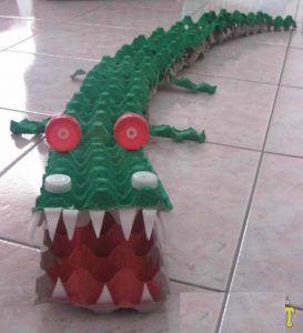 egg carton crocodile craft