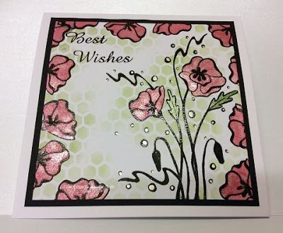 Handmade card by Lisa B. Starlights paints, Floral Collage Poppy Elements stamp set.