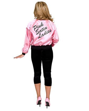 Printed Satin Jacket Pink Ladies Adult | Wholesale 50's Halloween Costumes for Womens