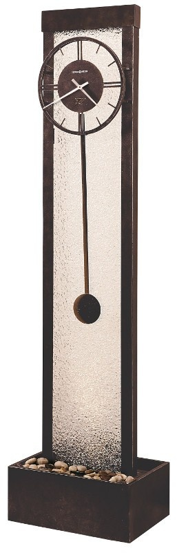 Howard Miller Grandfather Clock 615-058 CASCADE - Earth Brown & Antique Nickel finish. Quartz, Triple-Chime, Harmonic Movement. This elaborate metal framework floor clock features an Antique Nickel finish with an Earth Brown finished top and base.- The off-white dial features Roman numerals and an organic center decoration that complements the metal framework of the body.