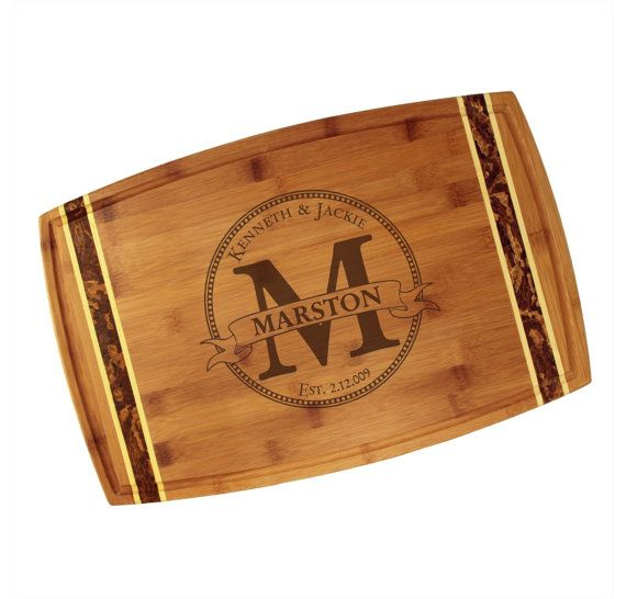 """Engraved Circle Monogram Cutting Board 18"""" x 11"""" Marbled Totally Bamboo - Personalized Classic Wedding Gift with Custom Initial and Names"""