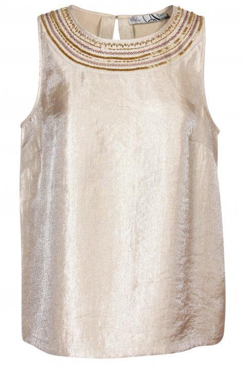 Vergroot - Goudkleurige top met lurex en juweel