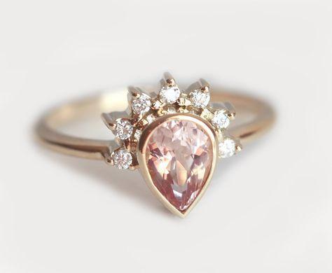 Pear Morganite Engagement Ring, Morganite Diamond Crown Ring, Diamond Morganite…