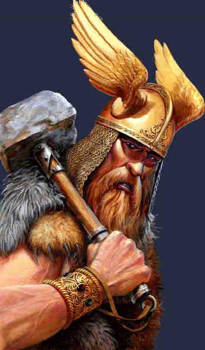 Thor (Norse) - Title: God of Thunder. Home: Asgard. Symbol (Mjdnir), Parents: Odin & Fyorgyn. Siblings: Baldr, Váli, Hermóðr, Hóðr, Heimdallr, Týr, Bragi, Vaðarr & Skjöldur. Wife: Sif. Children: Magni, Thrud, Modi, Loridi & Ullr. Job: Protection of Mankind.