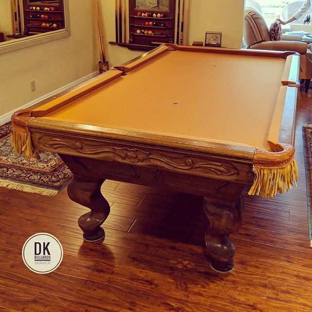 Finished installing new cushion rubber leather nets and Aztec felt. 40 year old 8-foot 1 pc slate pool table. #billiards #dkbilliards #playpool #mancave #gameroom #pooltable