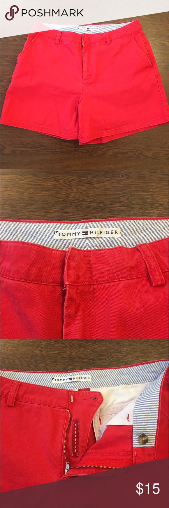 Tommy Hilfiger Red Shorts Women's Size 10 Tommy Hilfiger Red Shorts. Women's Size 10.  100% Cotton. Small Spot On Back. Overall Great Condition. Tommy Hilfiger Shorts