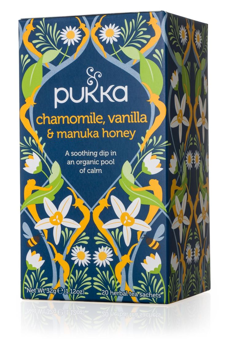 Chamomile, Vanilla & Manuka Honey tea. Made in the UK by Pukka Herbs Ltd