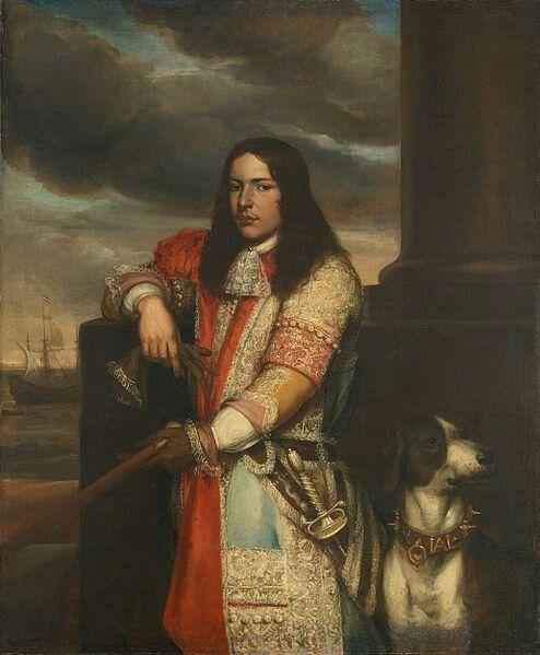 Jan Andrea LievensTitleEngel de Ruyter (1649-83). Vice-admiraal, zoon van Michiel Adriaensz de RuyterDescription  Nederlands:Portret van Engel de Ruyter, vice-admiraal, zoon van Michiel Adriaensz de Ruyter. Kniestuk, staande bij een borstwering. Commandostaf in de linkerhand, handschoenen in de rechterhand. Rechts een hond, links op de achtergrond een schip op zee.  Datebetween 1667 and 1680Mediumoil on canvasDimensionsdragerHeight:152 cm (59.8 in) dragerWidth:126.5 cm (49.8 in)