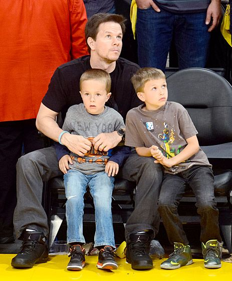 Mark Wahlberg with sons Brandon and Michael. What a handsome crew! Plus, it is always refreshing to see celebrities giving their kids common, pronounceable names.