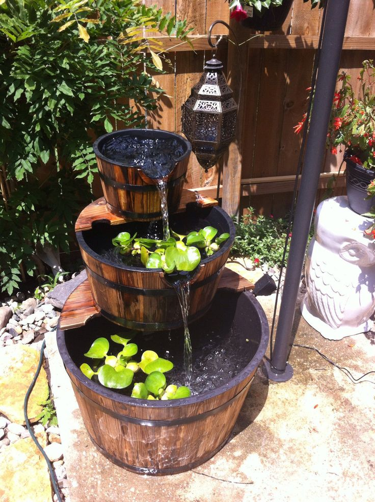 This 3 tier wooden whiskey barrel outdoor patio water for Making a water garden