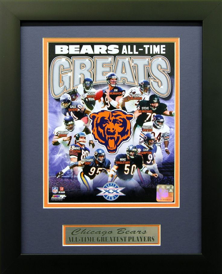 Chicago Bears Man Cave Decor : Chicago bears all time greats wall art perfect decor for