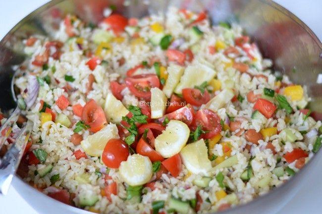 Koude rijstsalade voor bij de #bbq #salades