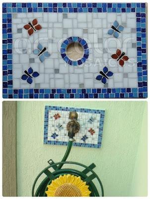 Ateliê Artcolor mosaicos: Mosaico no Jardim - Barrados para torneiras