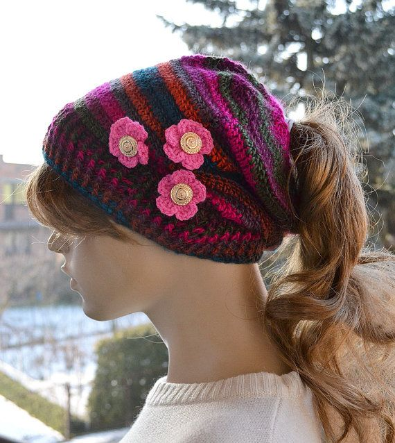 Crocheted Messy Bun Hatcappeaked cap Beanie by DosiakStyle on Etsy