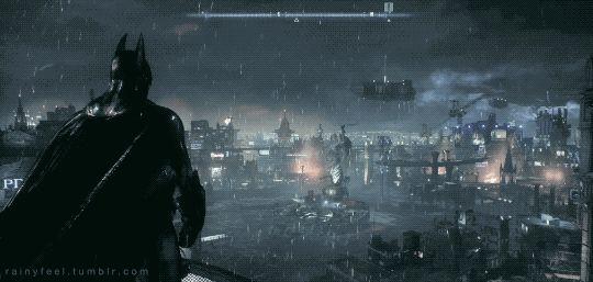 Gotham City. Batman- Arkham Knight (2015) - Rainy Night
