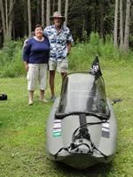 Mokai Kayakboat, has motor powerful enough to take you up stream! http://www.mokai.com