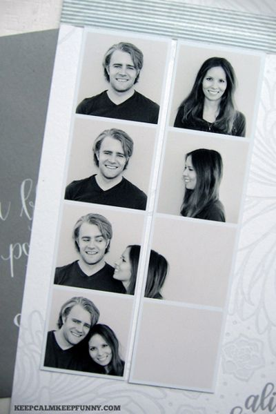 What a Clever and Fun Spin On the Photo Booth Strip Save the Date Idea - I'd have the girl's arm hold up a sign with the save the date so the new square isn't blank!