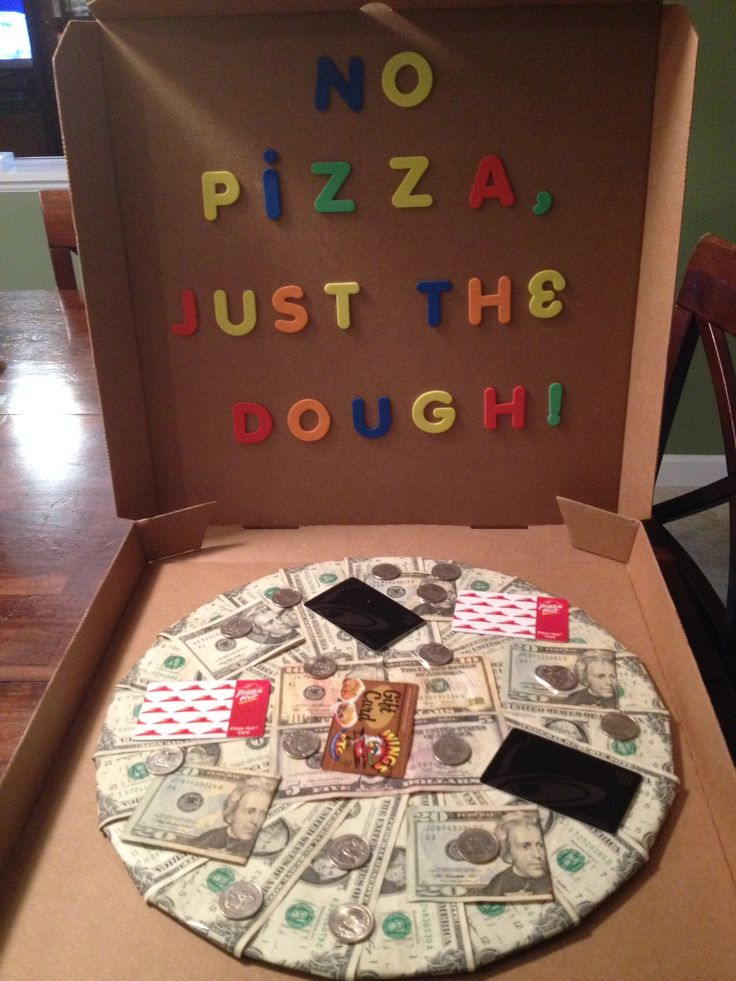 No pizza, just the dough!  Made this for my son's 19th birthday...cash and gift cards to his favorite places to eat.