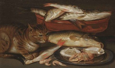 Clara Peeters (Flemish, b. ca. 1589–d. ca. 1657) A cat sitting by a bowl of fish and a silver plate with two oysters, a lobster and shrimps