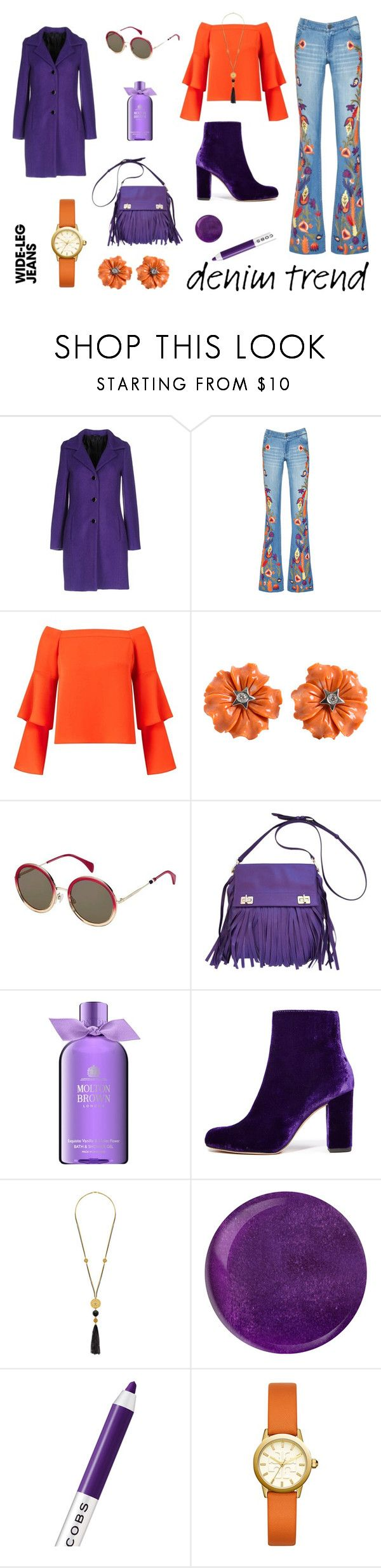 """""""Orange & Purple Wide-Leg Jeans"""" by tarparamu ❤ liked on Polyvore featuring Carla G., Alice + Olivia, Miss Selfridge, Tommy Hilfiger, Prada, Molton Brown, IRO, Marc Jacobs, Tory Burch and denimtrend"""