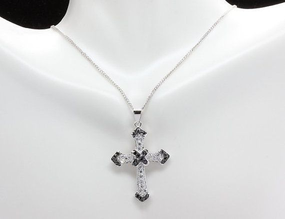 19 best cross pendants images on pinterest cross pendant drop silvertone black and white pave cubic zirconia by myjewelpassion religious crosschain jewelrycross aloadofball Image collections