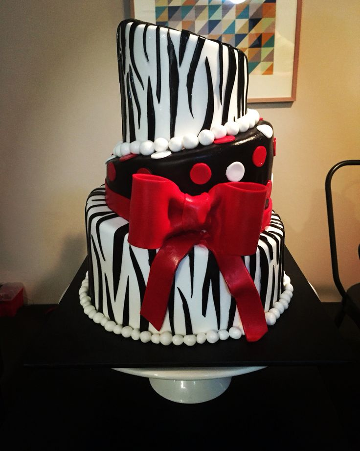 Black, white and red, polka dots and zebra stripe birthday cake