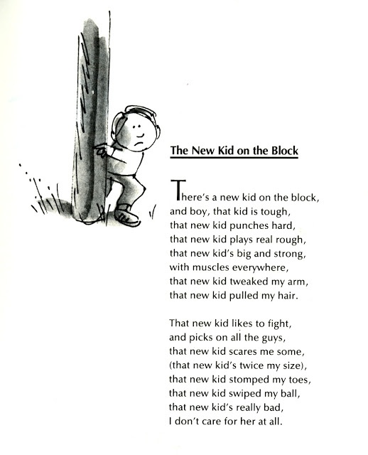 From: THE NEW KID ON THE BLOCK by Jack Prelutsky, illustrated by James Stevenson.