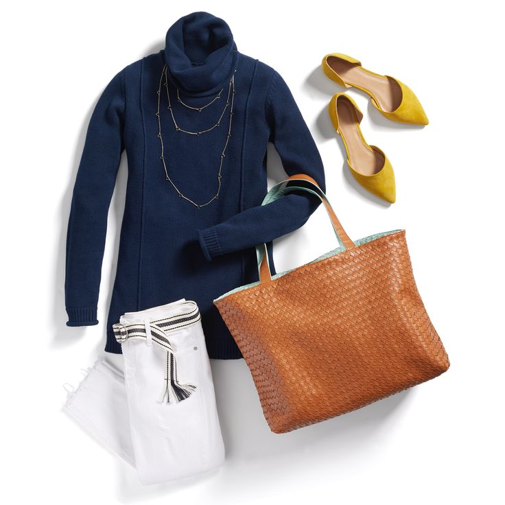 Chic, clean & slimming, the turtleneck is our look du jour. Pair it with white denim & a pop shoe for the perfect transitional look.