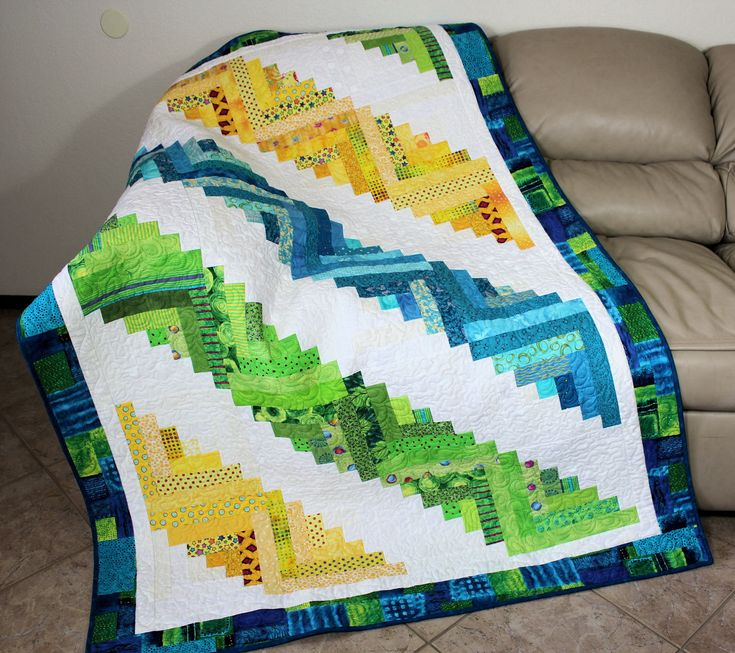 Bright Scrappy Log Cabin Lap Quilt or Sofa Throw, Quilted Throw White, Blue, Yellow and Greens, Quiltsy Handmade Patchwork Quilt by QuiltSewPieceful on Etsy