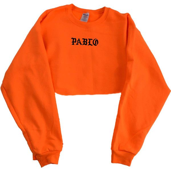 Kanye West Pablo Orange Crewneck Crop Top ($25) ❤ liked on Polyvore featuring tops, crop top, crew top, unisex tops, seamless top, cut-out crop tops and crew neck top