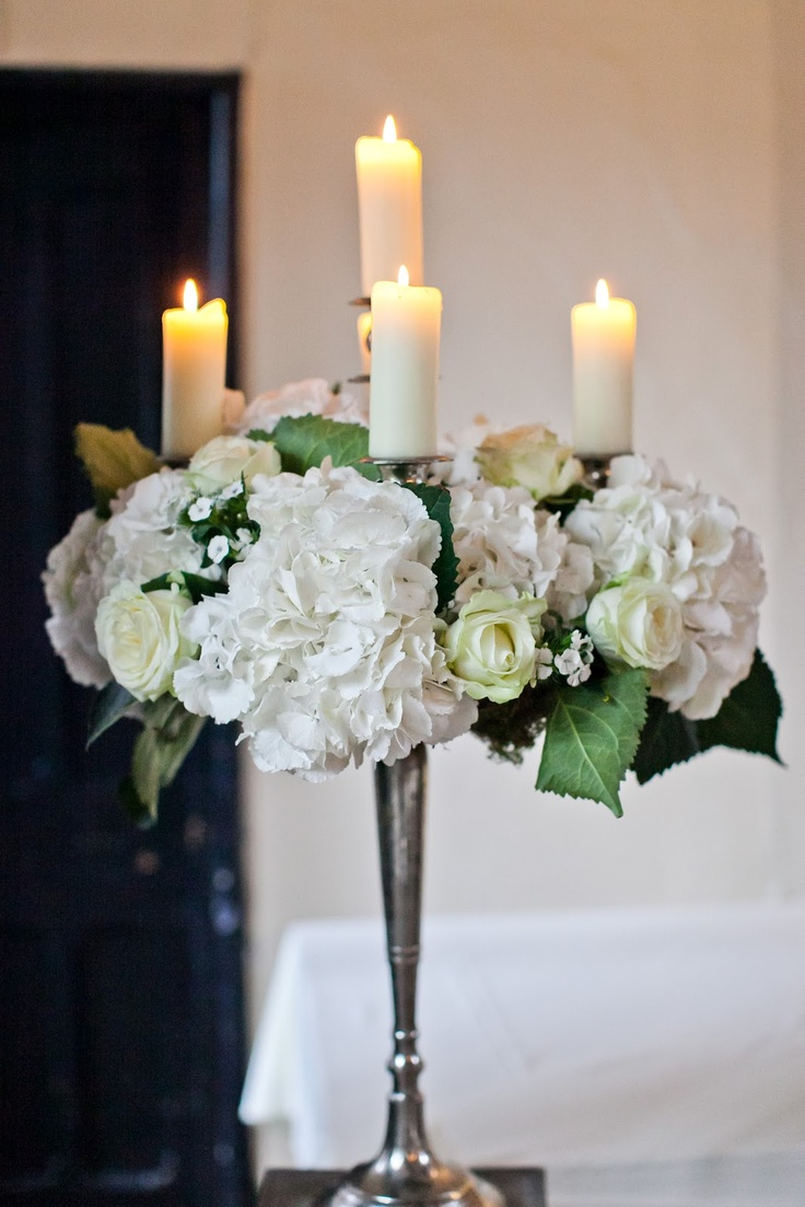 Flower Design Events: All White Baroque style Candelabras