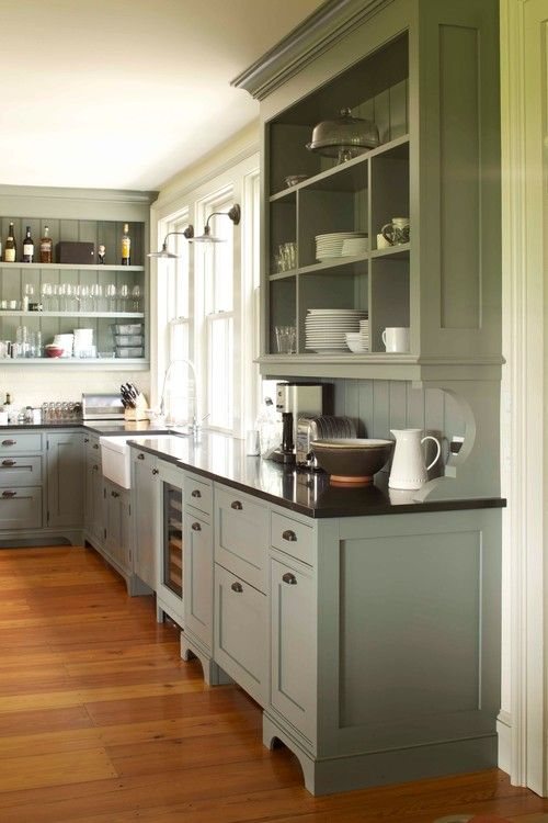 Cabinet color for our kitchen redo: 19th century farmhouse renovation, NY. Kate Johns AIA. Mick Hales photo.