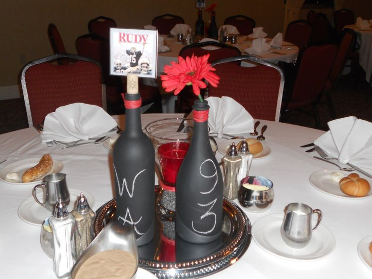 Centerpieces chalkboard painted wine bottles movies from for Painted wine bottle wedding centerpieces