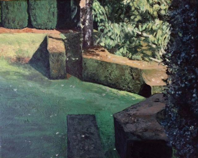 Four Yew Hedges  Oil on linen   24 cm x 30 cm. Dartington Gardens, Devon. painting, art.
