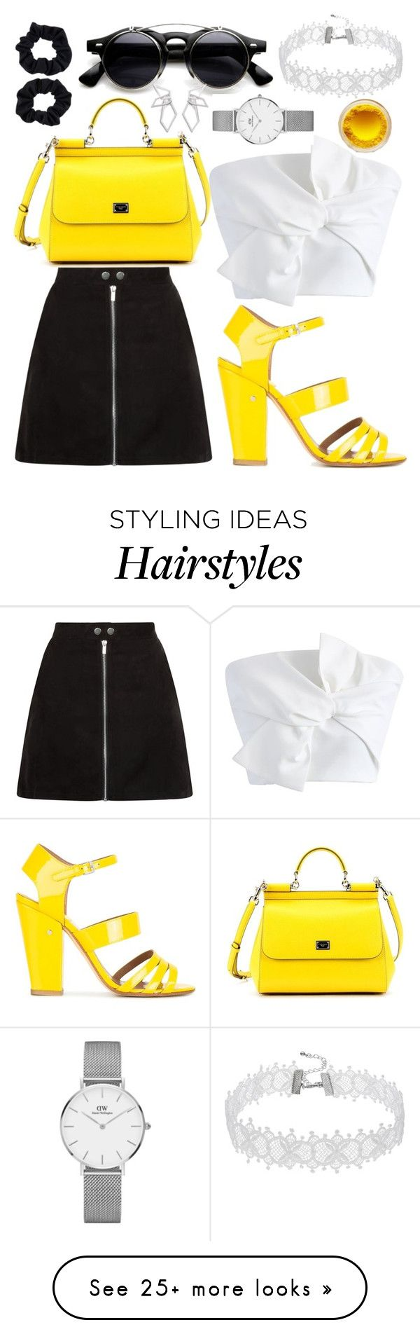 """""""Yellow for the Date"""" by tatianabilly on Polyvore featuring Chicwish, Laurence Dacade, Dolce&Gabbana, Accessorize, W. Britt and Daniel Wellington"""