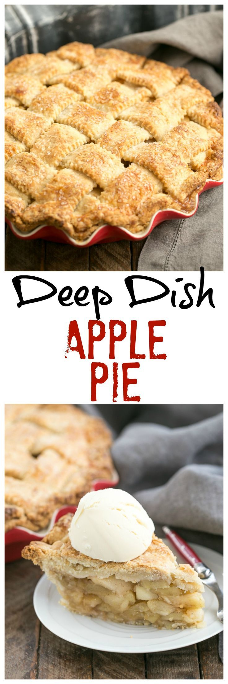 Deep Dish Apple Pie   Packed full of precooked apples makes for a perfect autumnal pie! @lizzydo
